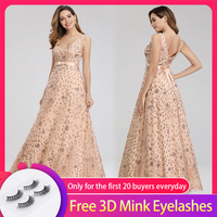 Elegant A Line Double V neck Evening Dress Sleeveless Floor length Fashion Dress with Bow Sashes for Party