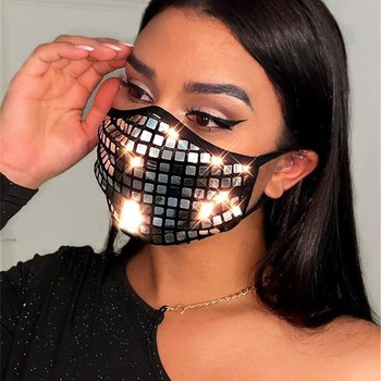 New Sexy Sequin Decoration Face Mask Jewelry for Women Female  Dance Party Cosplay NightClub Statement Jewelry Gift