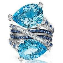 NPKDS мода стерлингового серебра 925 натуральный двухцветный крест кольцо синий Циркон кольцо для свадьбы ювелирные изделия аксессуары
