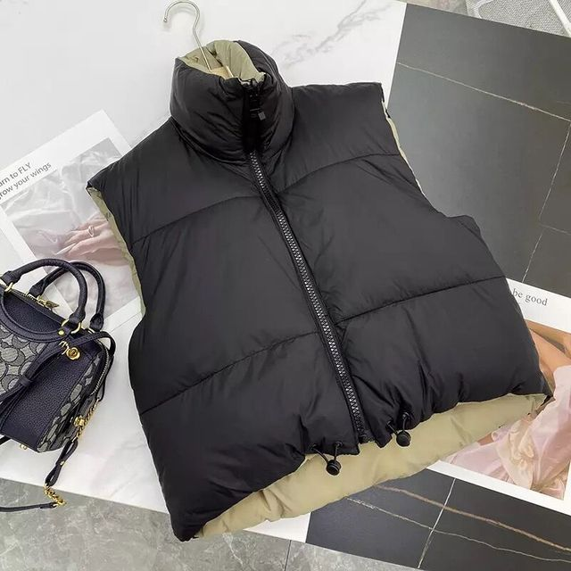 2021 Autumn Winter Women Fashion Double-Sided Jacket Coat Vintage Black Warm Sleeveless Cotton Outwear Female Casual Short Tops 6