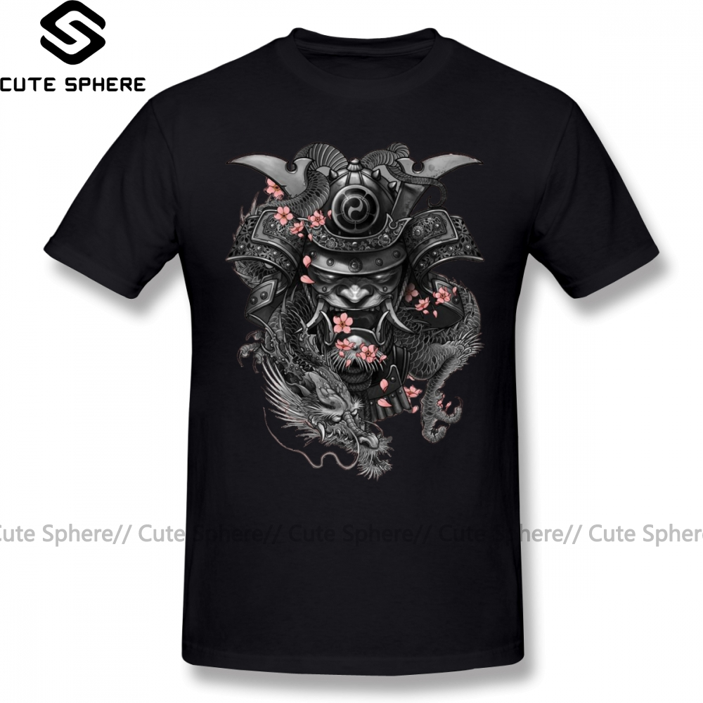 Samurai T Shirt Seven Samurai Black T-Shirt Plus Size 100 Percent Cotton Tee Shirt Fun Casual Mens Printed Short Sleeves Tshirt