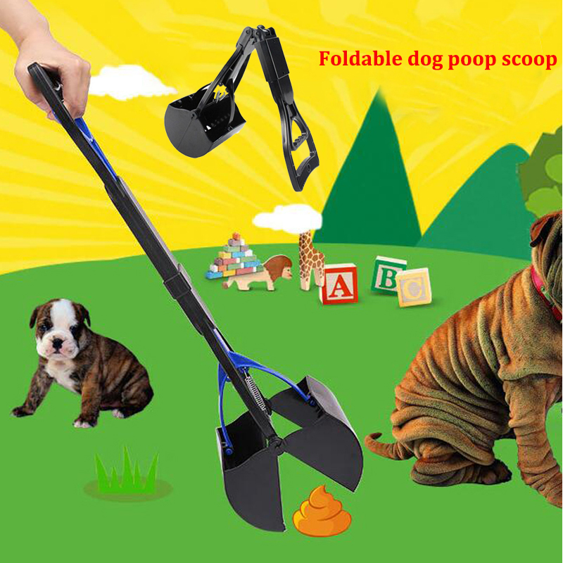 Foldable Dog Poop Scoop Dogs Toilet Cleaning Shovel Portable Long Handle Outdoor Cleaning Clip Dog Paddle Poop Pet Litter Pickup