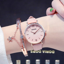Fashion Women Watches pink dial Minimalism Casual Retro Quartz Leather Strap Dress Ladies Watch Waterproof(China)
