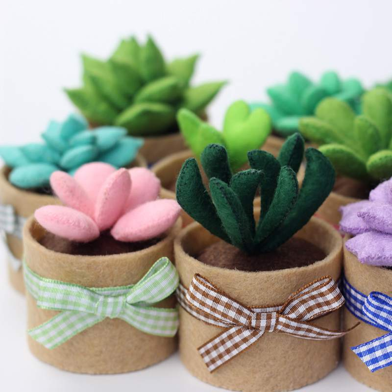 Mini Succulent Plant Small Green Bonsai Wool Felt Poked Non-Woven DIY Handmade Material Bag