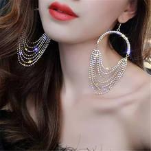 Ladies fashion retro classic large round chain crystal zircon Women earrings luxury elegant bride wedding jewelry