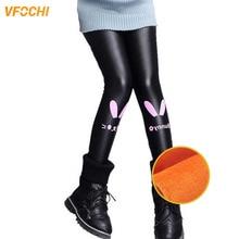 цена VFOCHI New Girls Leather Pants Winter Thick Velvet Pants Stretch Waist Kids Pants Warm Children Trousers Girls Thicken Leggings онлайн в 2017 году