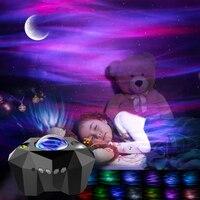 Aurora Stern Leuchtet Laser Galaxy Starry Sky Ozean Welle Projektor Nachtlicht Bunte Nebula Mond Lampe Bluetooth-kompatibel Musik