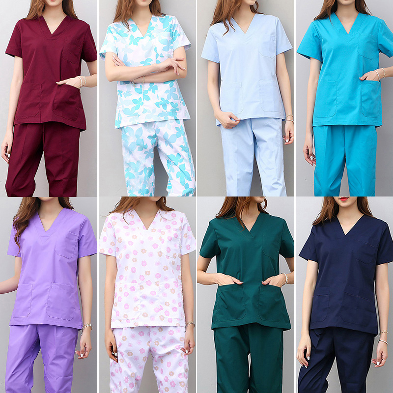 New Medical Sets Hospital Doctors Nurses Short-sleeved Uniform Suits Dental Oral Clinic Beauty Salon Workwear Overalls Clothes