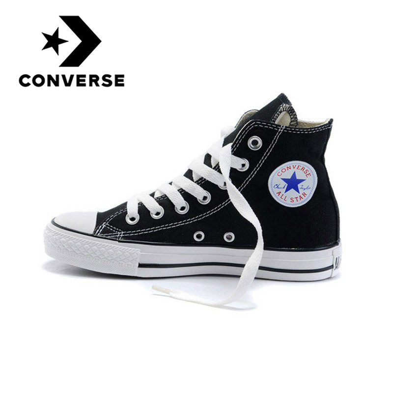 Original Authentic Converse ALL STAR Classic High-top Unisex Skateboarding Shoes Lace-up Canvas Footwear Black And White 101010
