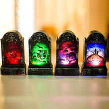 1PC Halloween Tombstone Lights LED Retro Simulation Illuminate Bar Atmosphere Decoration Props Scary Festival Party Home Supply