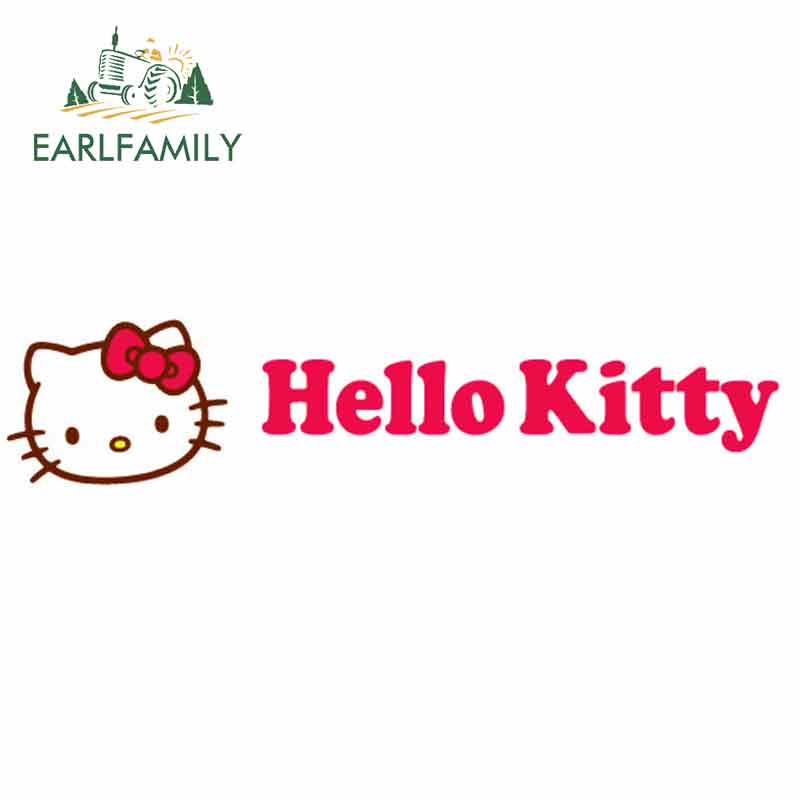 EARLFAMILY 13cm X 2.9cm For Hello Kitty Car Sticker Auto Motorcycle Decal Trunck Window Car Styling Waterproof Graphics