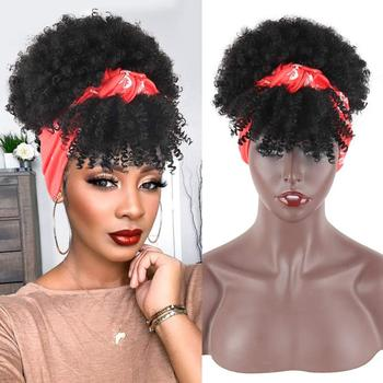 Short Afro Kinky Curly Ponytail With Bangs for Black Women Synthetic High Puff Afro Ponytail Drawstring Ponytail Hair Extensions afro vegan