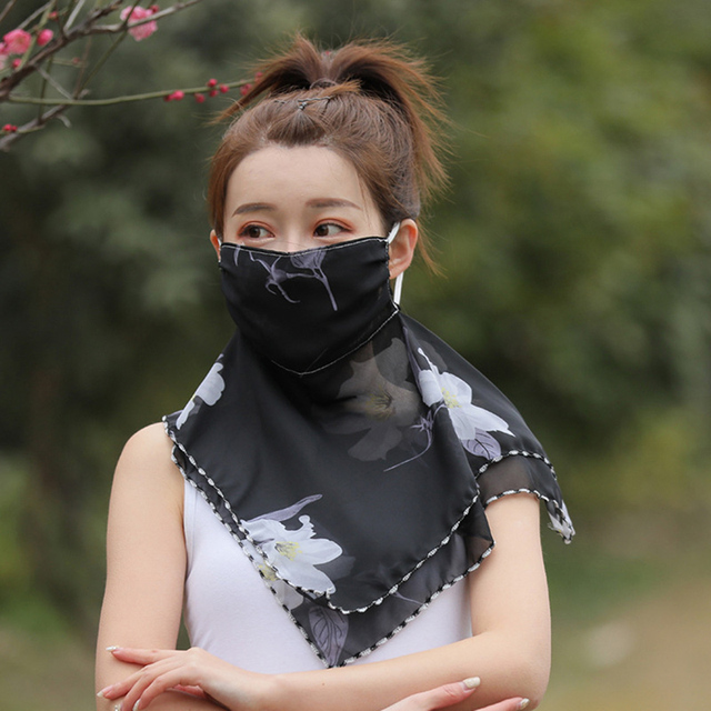 Fashion Woman Printing Mask High Quality Chiffon Neck Protection Breathable Mask Solid Color Sunscreen Mask For Cycling 4