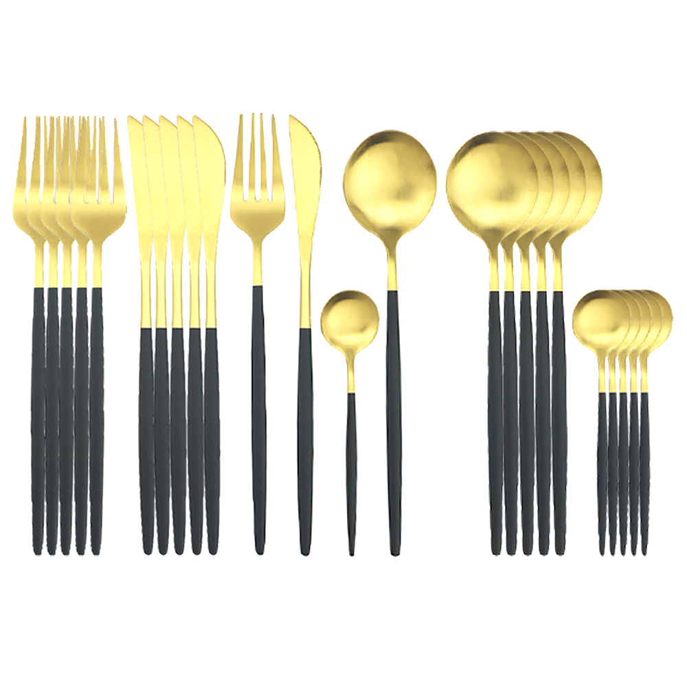 24Pcs/Set Dinnerware Set Black Gold Cutlery Set Stainless Steel Tableware Set Knife Fork Spoon Flatware Set Kitchen Silverware