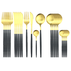 24Pcs/Set Dinnerware Set Black