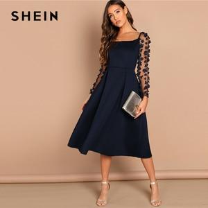 Image 5 - SHEIN Nacht Heraus Kontrast Mesh Appliques Plissee Square Neck Knielangen Kleid Herbst Moderne Dame Arbeitskleidung Frauen Kleider