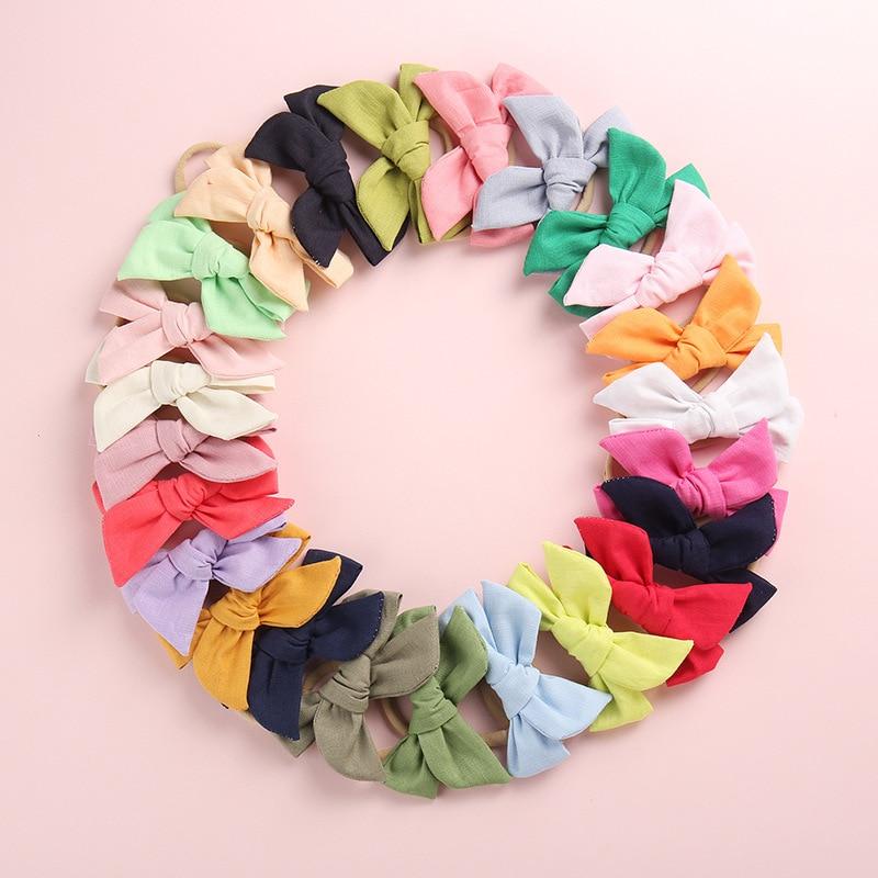 1PCS Solid Boutique Grosgrain Ribbon Girl Small Bow Elastic Hair Tie Clip Hair Band Bow DIY Hair Accessories Best Gift