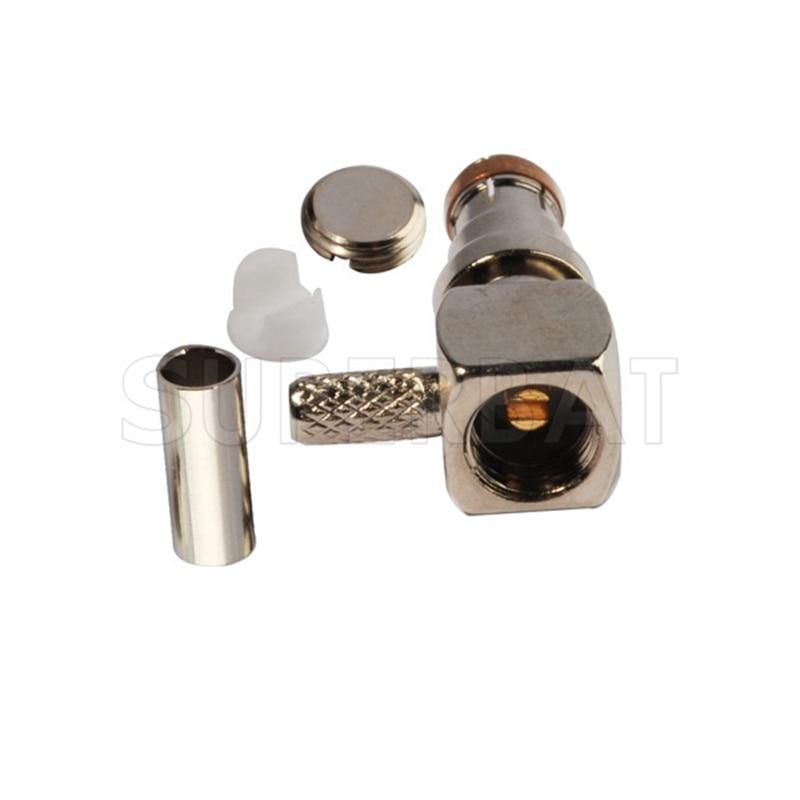Superbat 50 Ohm SMB Plug Right Angle Crimp Attachment Connector for Coaxial Cable RG316 RG174 LMR100