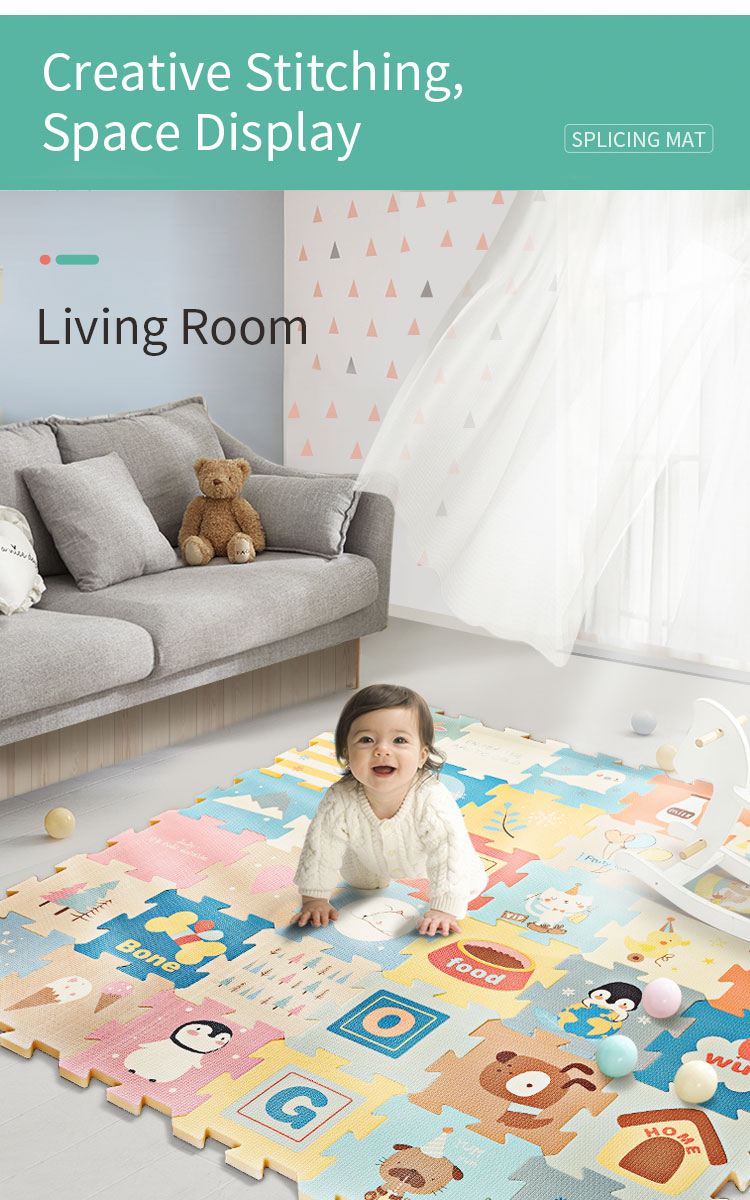H626f79b80d204396b6f35c6d1bf455645 BabyGo 9pcs Baby Puzzle Play Mat XPE Foam Waterproof 82*82*2cm Thickened Children'S Crawling Pad Living Room Activity Floor Mat