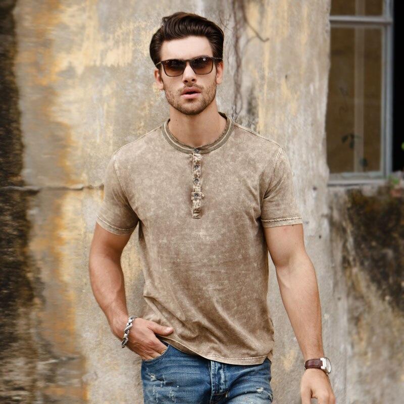 Новая летняя футболка с коротким рукавом для мужчин с коротким рукавом футболки Генри воротник рубашки 100% хлопок винтажные тертые высокое ...
