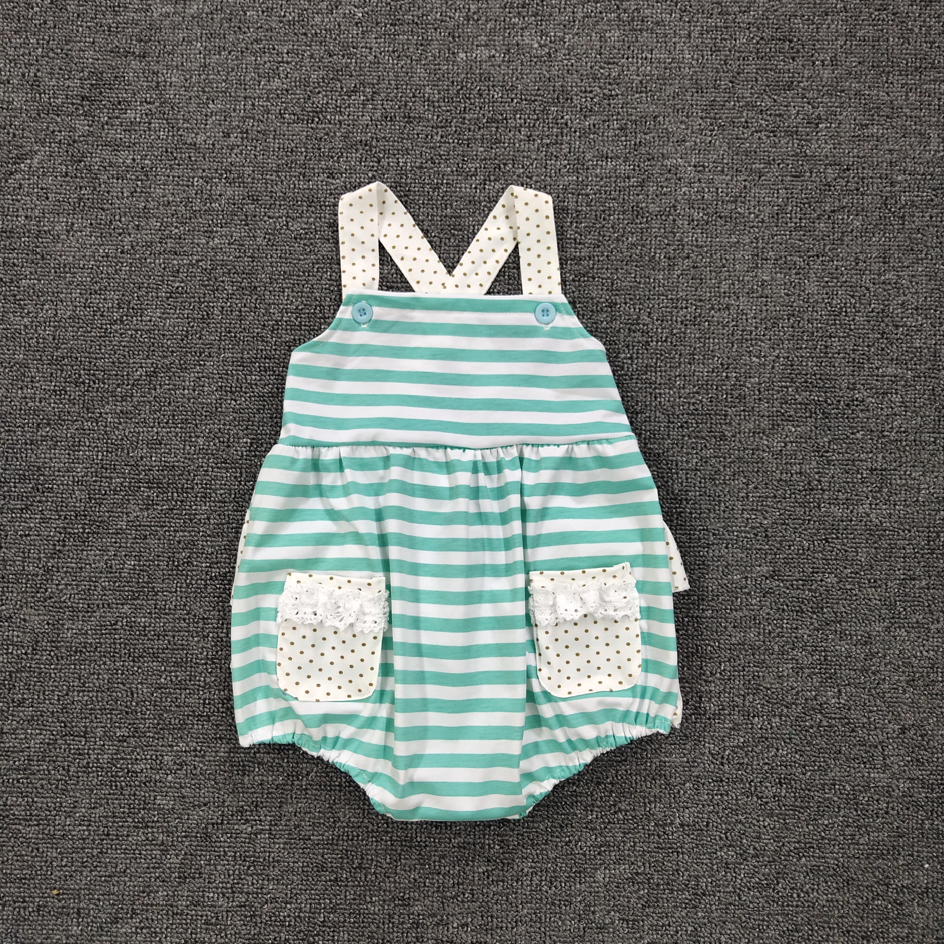 New Romper Girls Romper Summer Bubble Girl Boutique Baby Clothing Mint Green Stripe For Romper