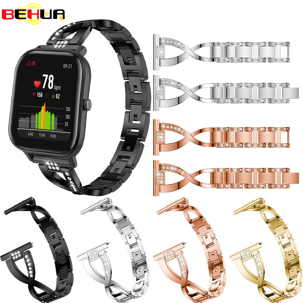 Straps For XIAOMI Huami Amazfit GTS Replacement Metal Crystal Watch Strap Wrist Band For Huami Amazfit GTS Watchband Bracelet