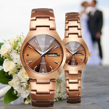 цена на Couple Watch Fashion Luxury Quartz Watch Women Men Dress Wristwatch Stainless Steel Band Lovers Watches Ladies Relogio Masculino
