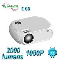 Новый ByJoTeCH E08 светодиодный проектор 2000 люмен 1080P домашний кинотеатр wi-fi-мультимедиа Android Версия опционально HDMI VGA Proyector Beame