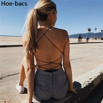 Backless Black Sleeveless Sexy Bodysuits Lace-Up Bodycon Bodysuit Women Summer 2020 lace up side sleeveless bodysuit