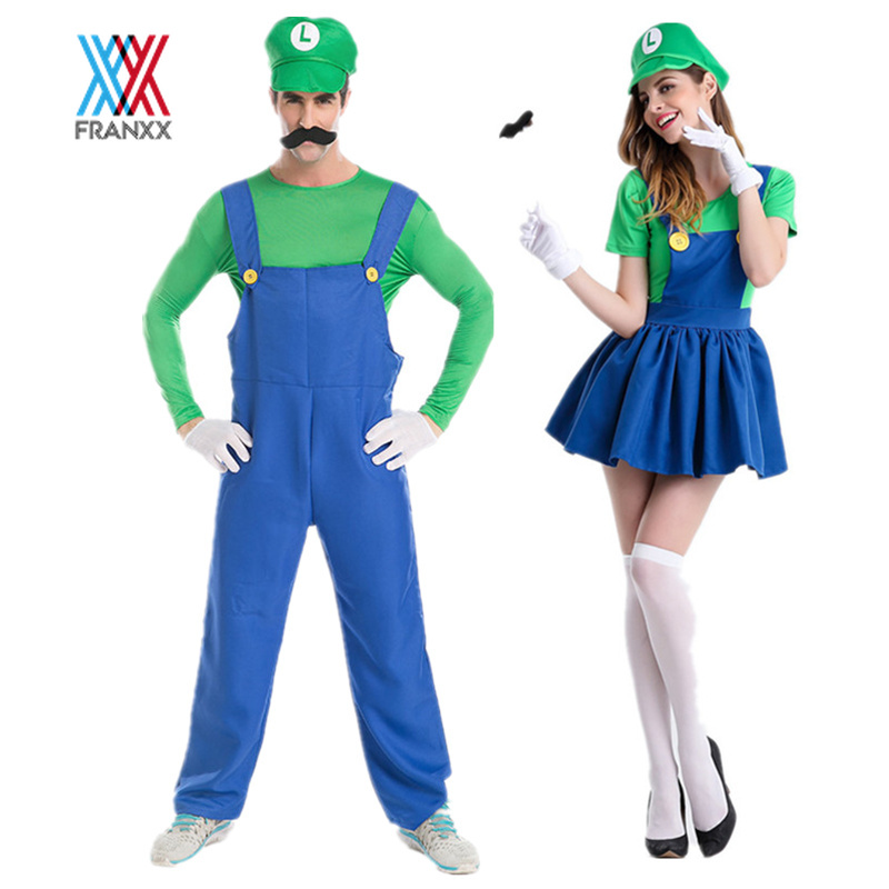 Mens /& Kids Super Mario and Luigi Bros Fancy Dress Halloween Costume Plumber New