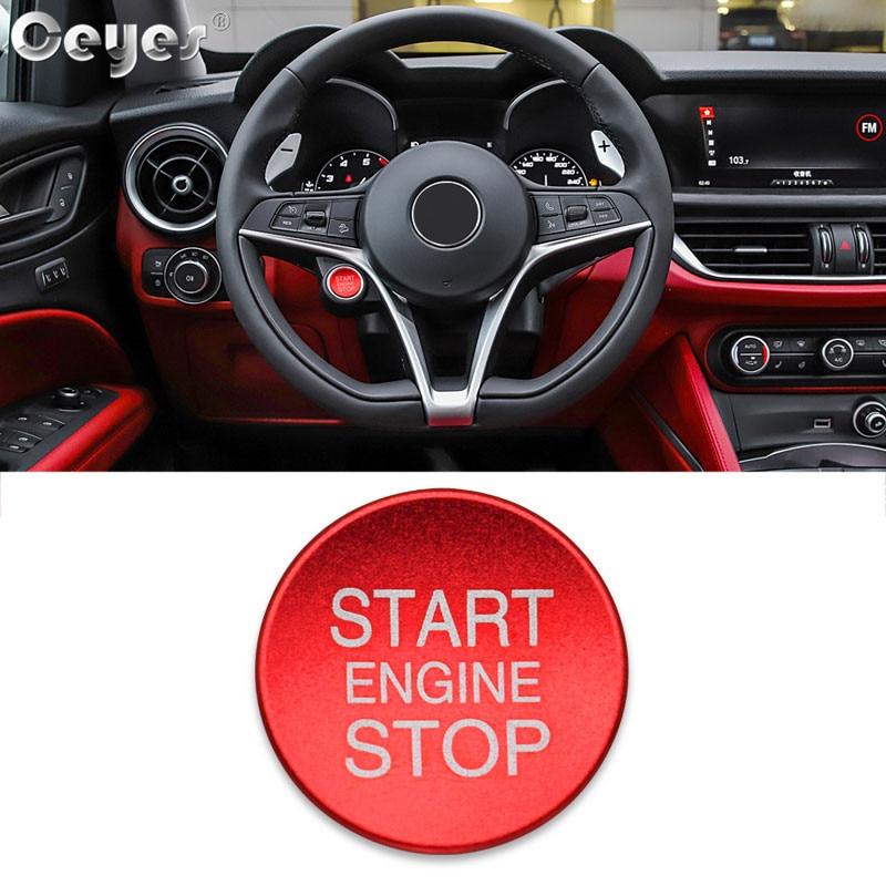 Ceyes, автомобильный стиль, зажигание, пусковое кольцо, кнопка остановки двигателя, аксессуары для интерьера, чехол для Alfa Romeo Mito 147 156, Giulietta, наклейка - Цвет: Button Cover Red