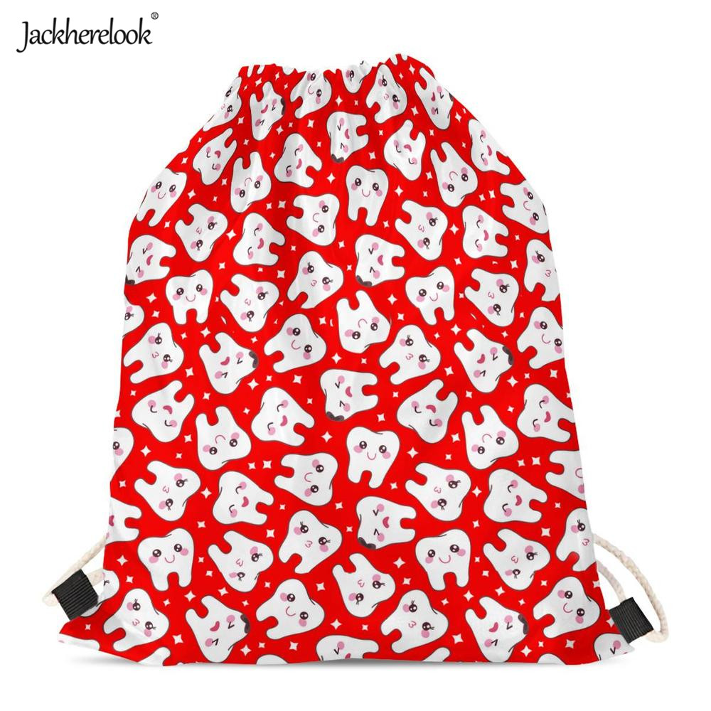 Jackherelook Cute Tooth Print Drawstring Bags For Boys Girls 2019 New Fashion Black Red Cycling Softback Gym Sack Running Bag