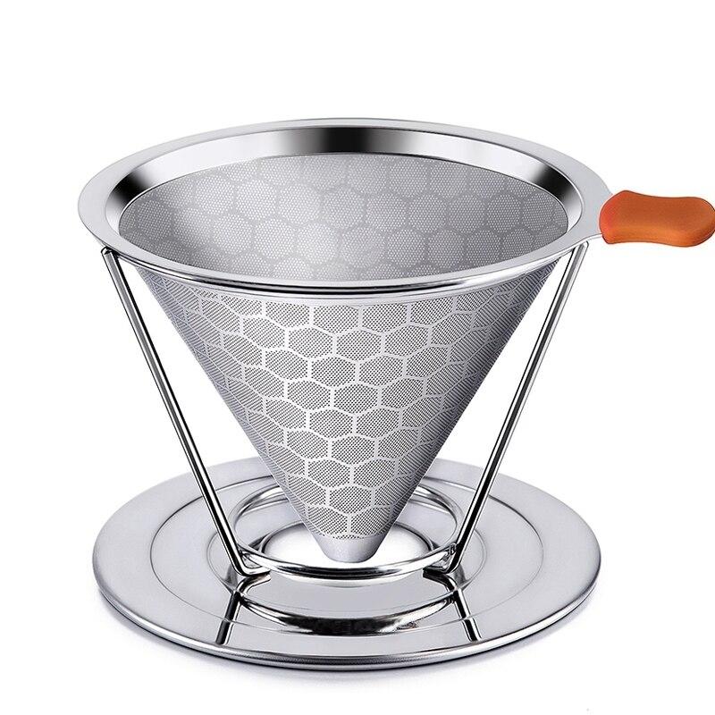 Gouttelette de café en acier inoxydable, sans papier, gouttelette de café, filtre à café à goutte lente, cône métallique, machine à service unique, support de tasse amovible