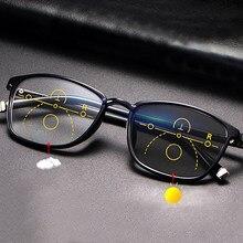Progressivo photochromic óculos de leitura multifocal homem presbiopia anti uv raio azul ultraleve tr90 borda completa ponte sólida preto