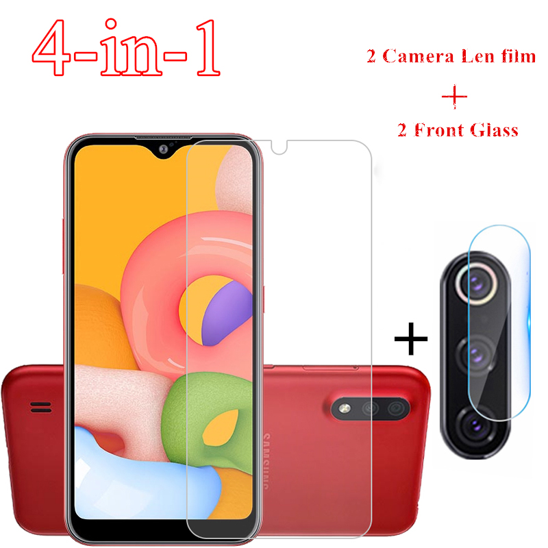 2PCS Glass For Samsung Galaxy A01 Tempered Glass For Samsung A01 Screen Protector Phone Protective Glass Film Camera Lens Film