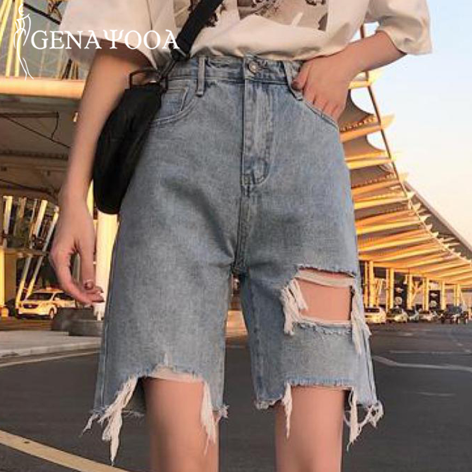 Genayooa Vintage Demin Jeans Shorts High Waist Ripped Hole Shorts Women Streetwear Casual Loose Jeans Biker Shorts 2019 Summer