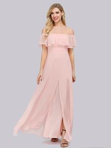 Image 3 - Plus Kích Thước Chém Cổ Hồng Một Đường Xếp Ly Eo Thời Trang Vestidos De Soriee XUCTHHC ĐẦM DỰ TIỆC 2020 Ren Nữ Tay Nữ Full đầm