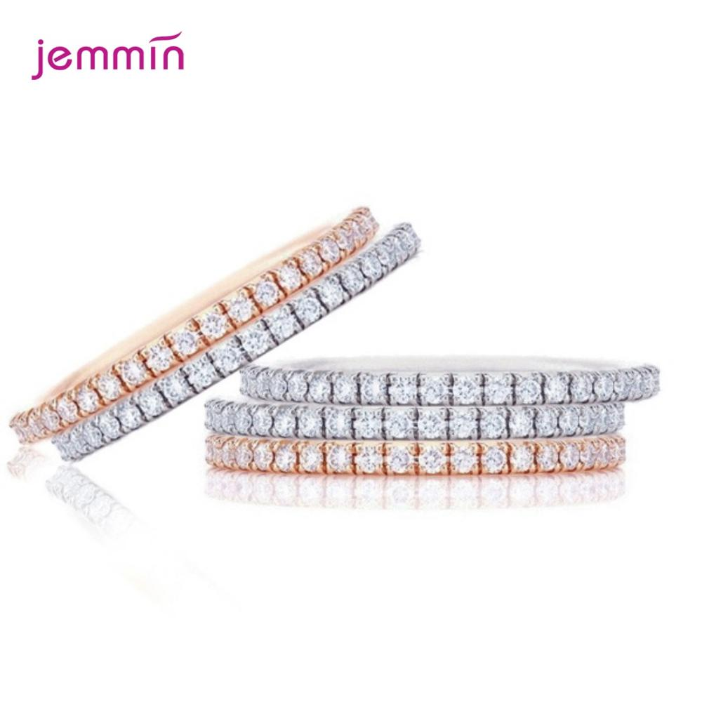 Bohemian Vintage 925 Sterling Silver Band Rings for Women Wedding Trendy Jewelry Clear Cubic Zircon Simple Style Anillos