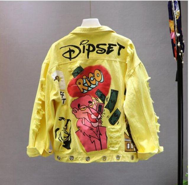Red Yellow Jeans Jacket New Spring Autumn Women s Graffiti Alphabet Printing Lace Bow Pin Hole Denim Jacket Student Basic Coat