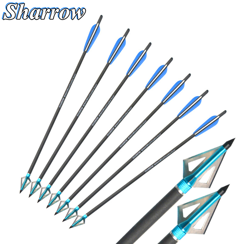 "12 Piece Crossbow Carbon Arrows 17-22/"" Archery Bolt Target Practice Hunting Blue"