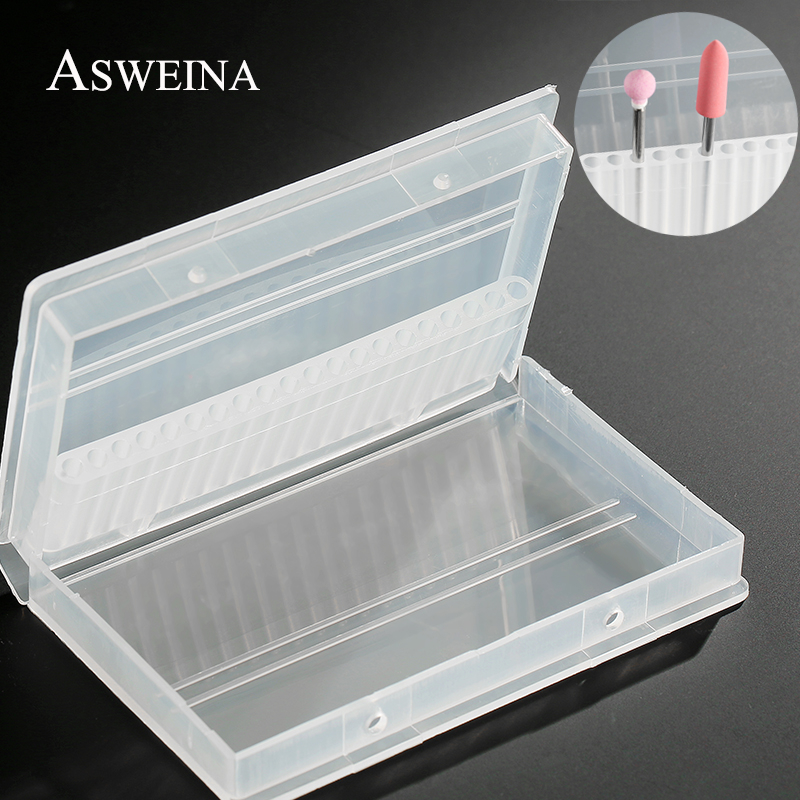 ASWEINA 1PC 20 Holes Plastic Transparent Nail Drill Bit Acrylic Box Display Stand Container For 3/32