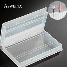 """ASWEINA 1PC 20 חורים פלסטיק שקוף מקדח נייל אקריליק תיבת תצוגת Stand מיכל עבור 3/32 """"קצת תרגיל תערוכה כלי"""