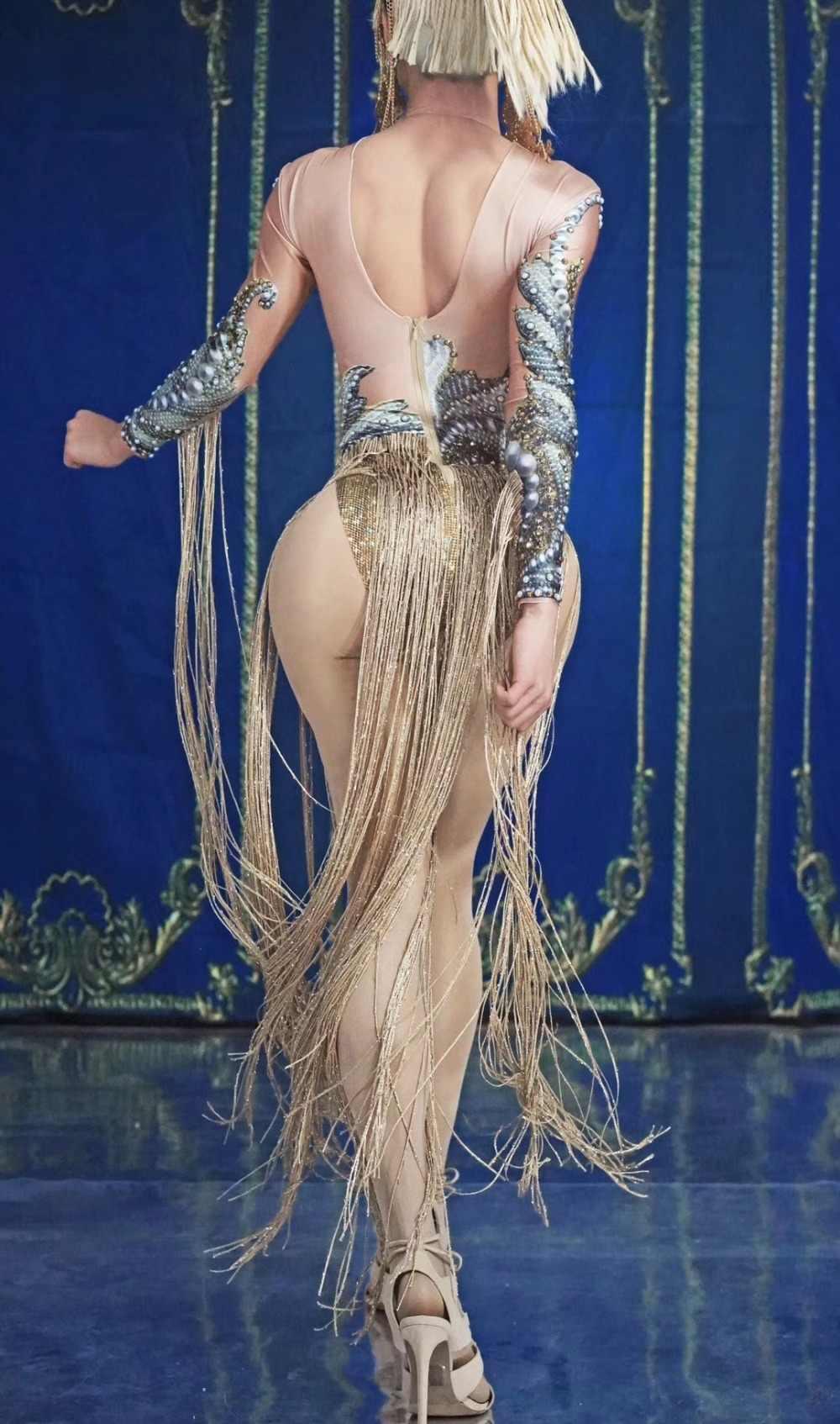 Moda damskie dżety złote frędzle body kobiece piosenkarka klub nocny dj Show Tassel trykot występ na scenie kostium taneczny