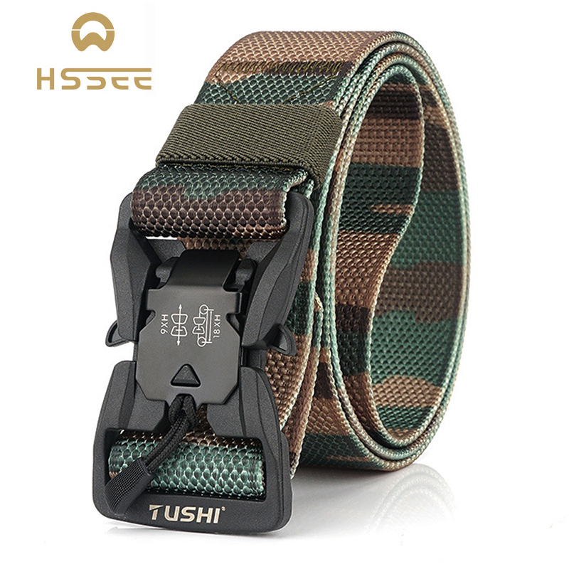 HSSEE Camouflage Series Tactical Belt New Rigid Magnetic Buckle Sports Belt Real Nylon Wear-resistant Non-fading Unisex Belt