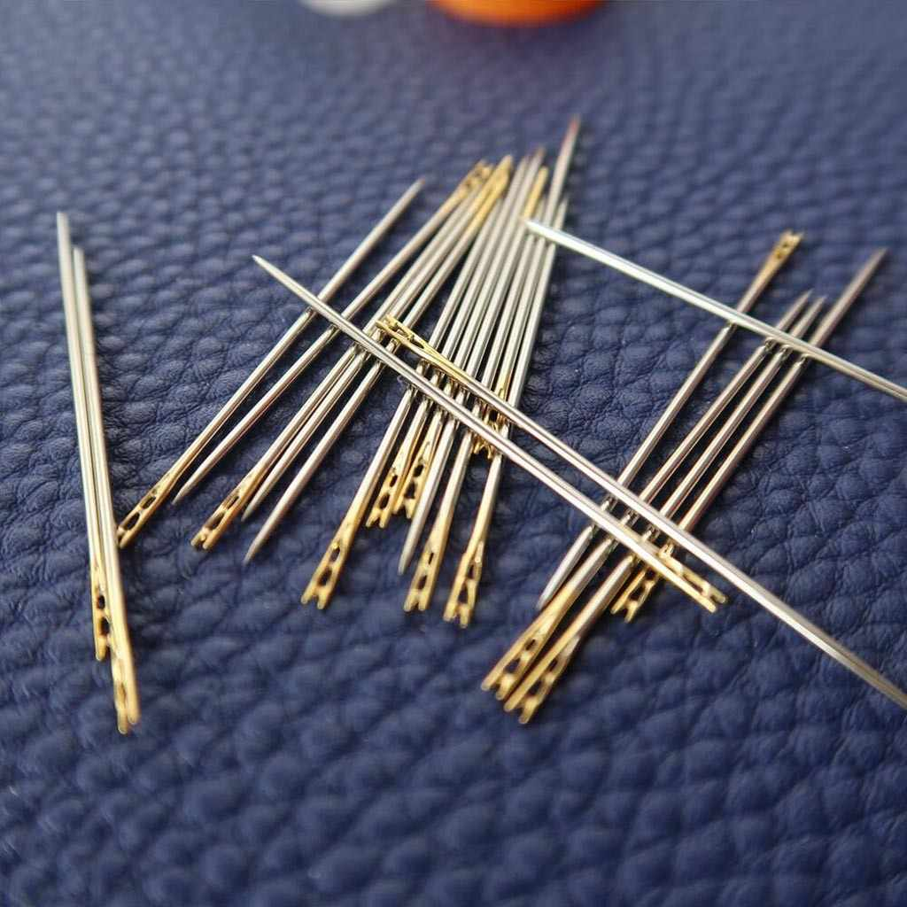 12 Pcs Darning Jarum Stainless Steel Multi-Ukuran Tebal Mata Besar Auto Threading Jarum DIY Kerajinan Jahit Rumah Tangga jarum