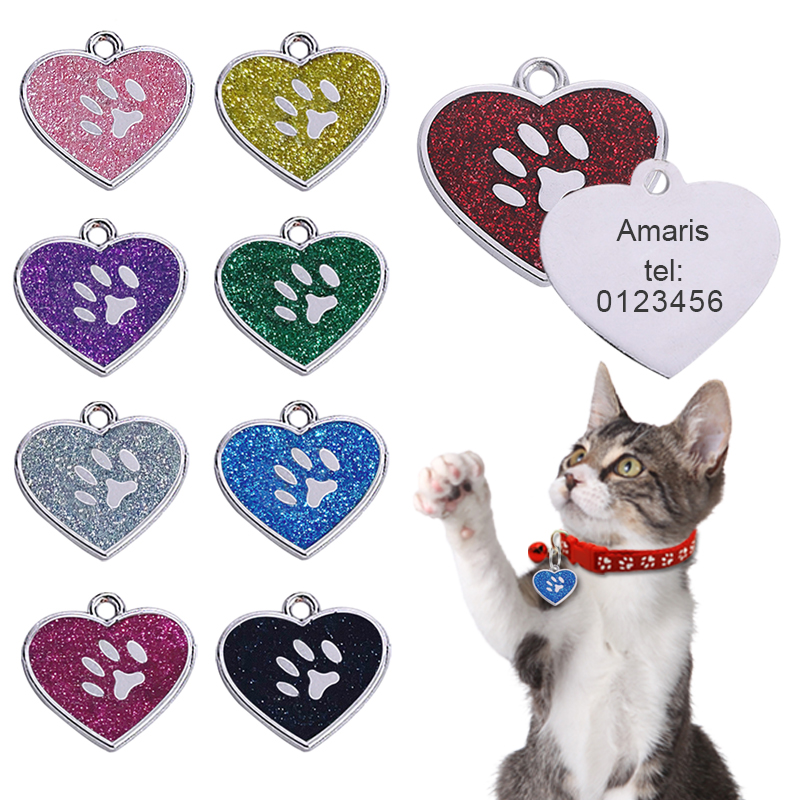 Customized Pet ID Tag Heart-shaped Tag Collar Cat Name Pendant Personalized Engraved Dog Pendant Nameplate Tag Collar Accessory