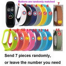 For Xiaomi Mi Band 4 Strap Bracelet Miband Silicone Correa Smart Wristband Miband4 The Avengers Pulseira Straps 7Pcs