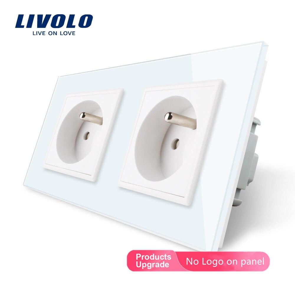 LIVOLO 16A French Standard, Wall Electric / Power Double Socket / Plug, Crystal Glass Panel,C7C2FR-11/12/13/15, No Logo