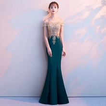 A Line Elastic Satin Applique Beading Crystals Sweetheart Boat Neck Evening Dresses Formal Floor Length