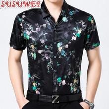 SUSUWEI Shirt for Men Real Silk Mens Dress Shirts 2021 Summer Printing Shirt Short Sleeve Casual Turn-down Collar JS56688